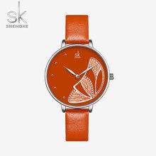 Часы SHENGKE женские, повседневные, водонепроницаемые, из розового золота, кварцевые, с бабочкой, для девушек, подарок, черные(China)