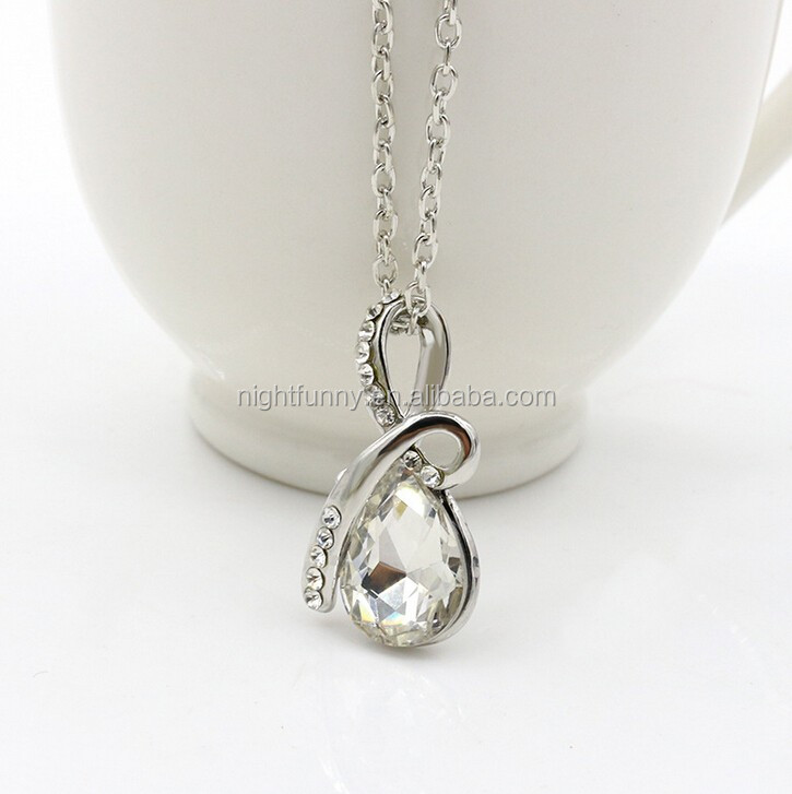 Elegant Clear Crystal AB Rhinestone Evening Party Teardrop Necklace