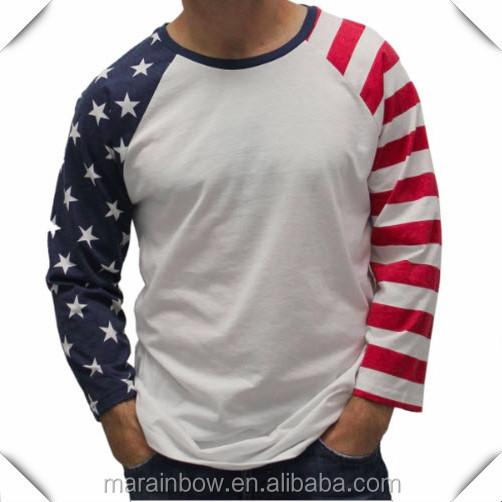 c7e69c4ad 2015 Fashion Design Mens American Flag Sublimated T Shirts Custom Printed  USA Flag 3/4 Raglan Sleeve Baseball Tee Shirt