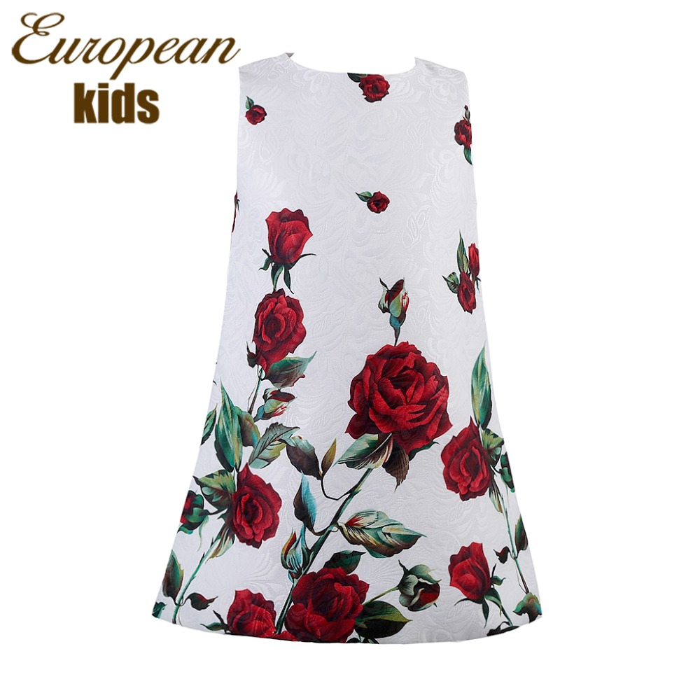 Baby Girl Dress Rose Floral Pattern A Line Princess Dress Girls European Style Baby Dress Brand