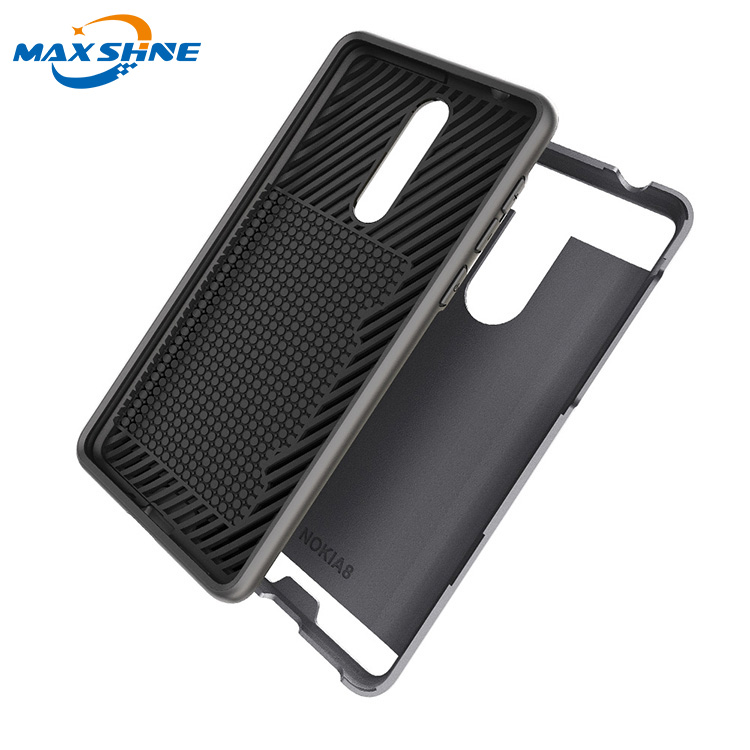 Maxshine hard brushed 2 in 1 anti shock card case for nokia 8  case