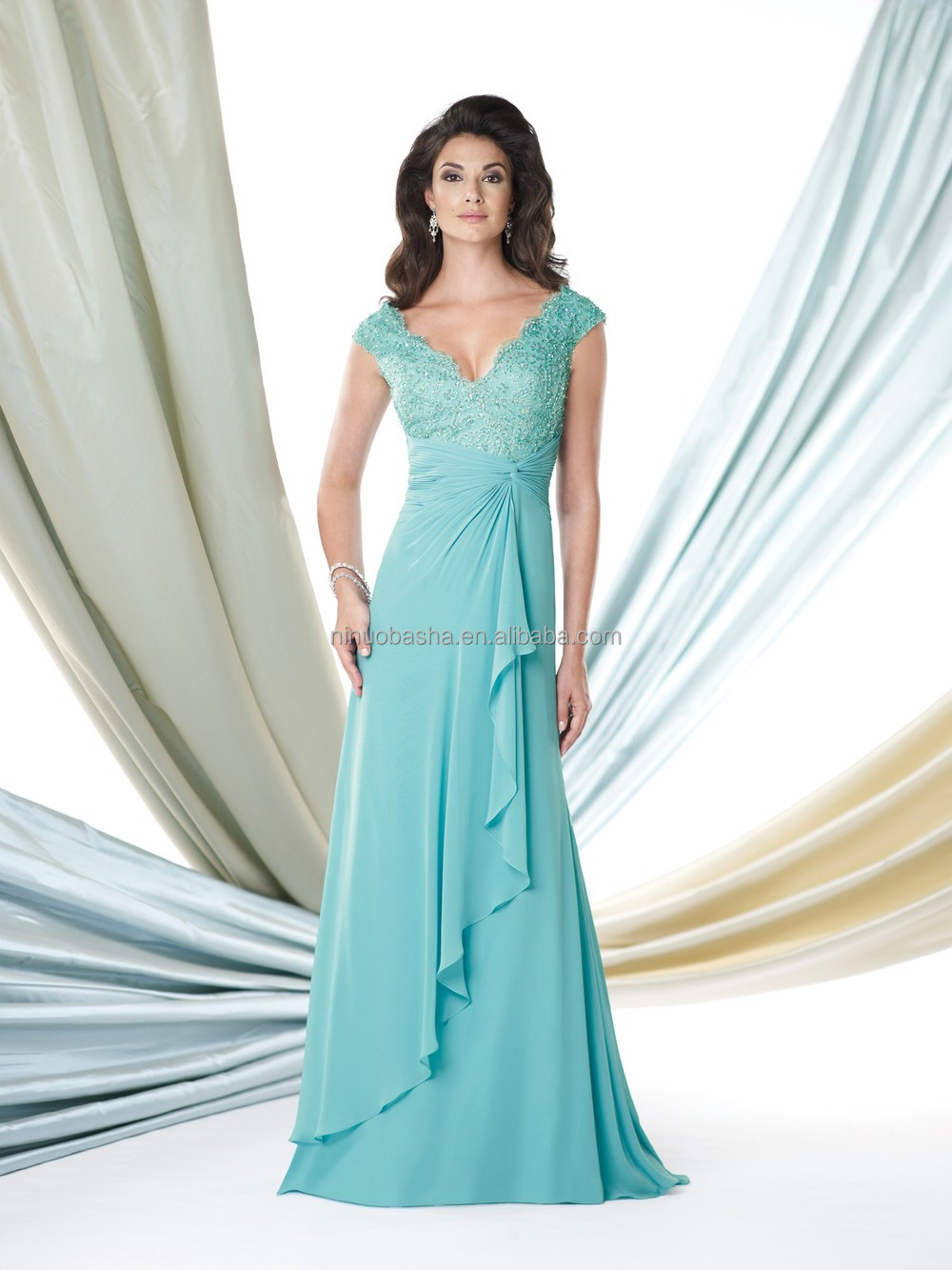 2015 Blue Chiffon Mother Of The Bride Dress V-neck Cap Sleeve Lace ...