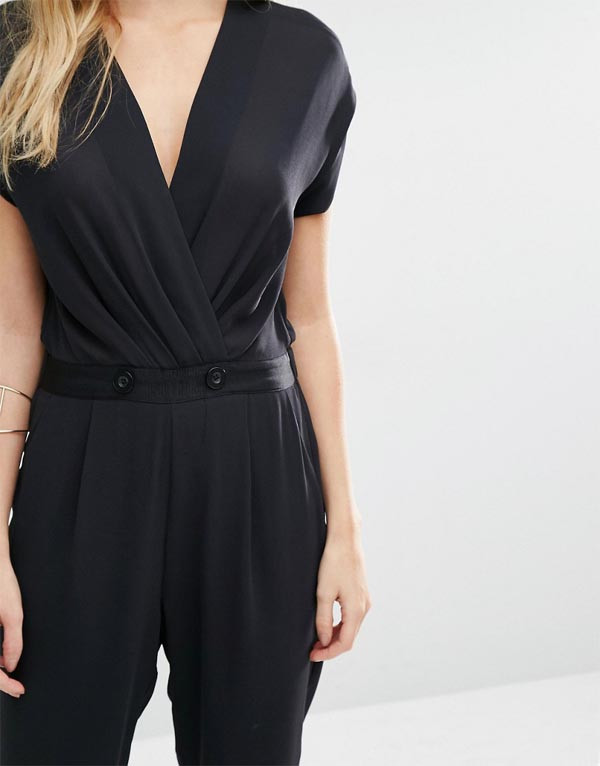 7fc77d0cae7 Sexy Deep V neck Jumpsuit With Wrap Front details Cap sleeves summer women  playsuits