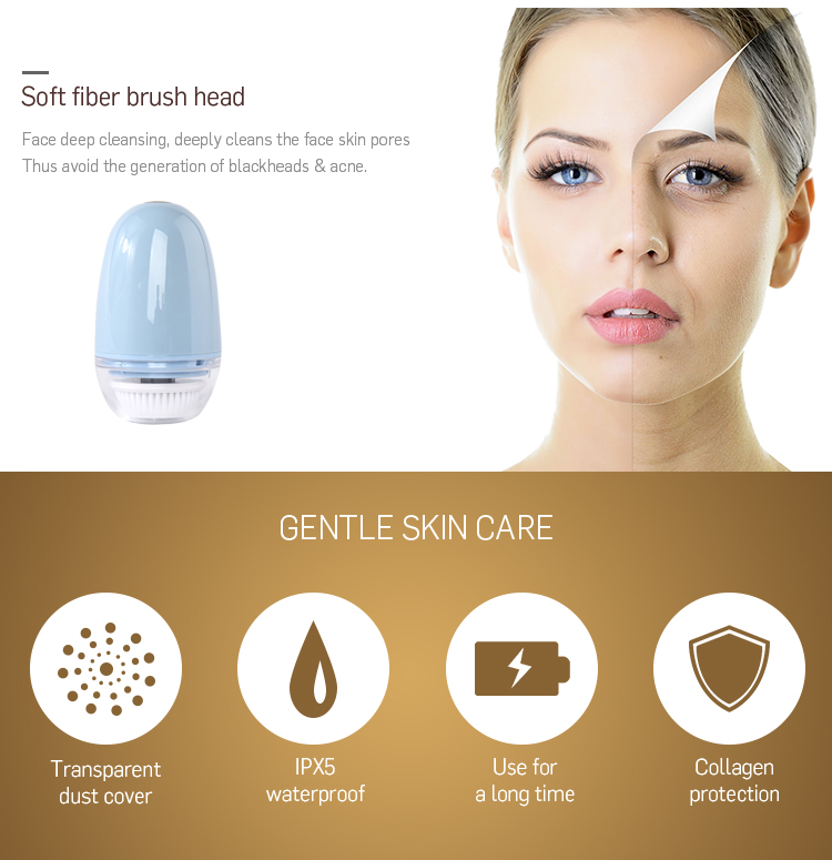 Beauty facial cleaning silicone beauty massager brush head electric face brush