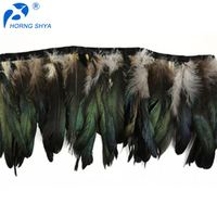 HS-244 Stitched Black Cocktail Fringe Natural 4-6inch Fringes Feathers black cocktail dress feathers black chicken feather