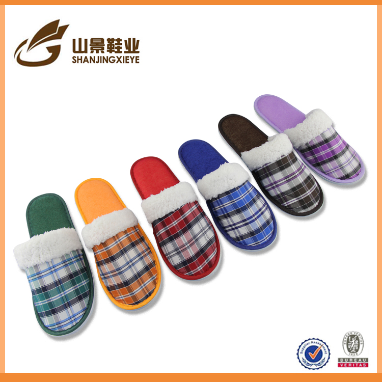 hot selling women indoor slipper fashion plaid bedroom slipper