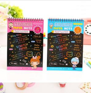 20*14cm Scratch Book Scratch Art Paper Kids Sketchbook Spiral Notebook Stock 104g/book