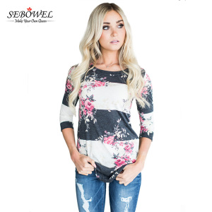 Latest Designs Printed Long Sleeve Woman White Blouse
