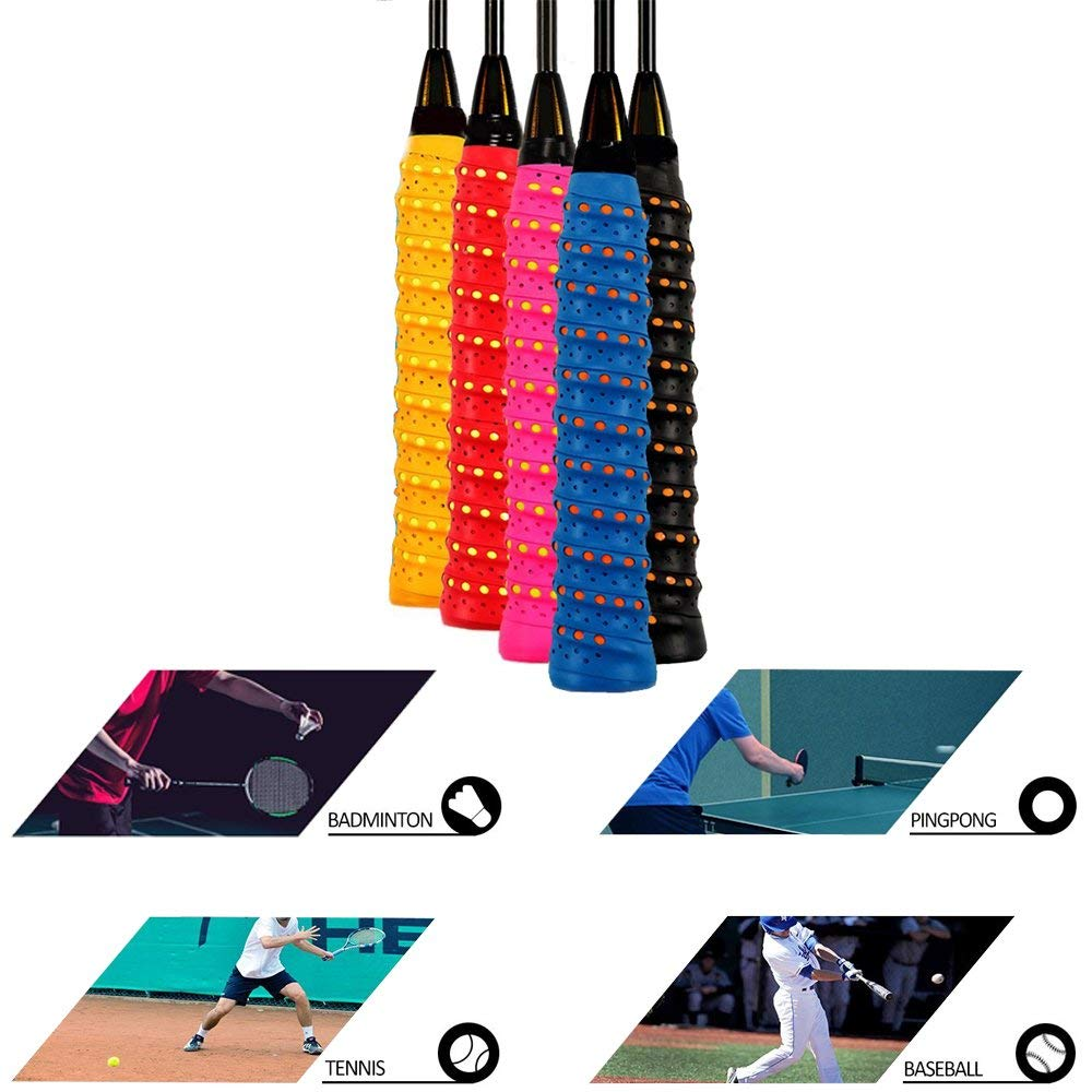 Racket Grip Anti Slip Perforated Super Absorbent,Tennis Racquet Replacement Overgrip Tape - Multi-purpose Anti-slip Self-stick Grip Wrap, soft, absorb moisture and anti-slip,fit pretty much any handle