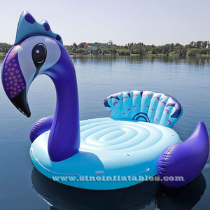 Customized 6 persons giant inflatable Unicorn/Peacock/Flamingo party bird island from China water toys factory
