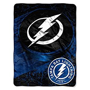 NHL Tampa Bay Lightning Throw Blanket, 46x60, Blue, White, Black, Ice Dash Micro Sports Hockey Stacked Multi Colored, Polyester Soft Touch, Machine Washable Team Logo, Perfect For Living Room
