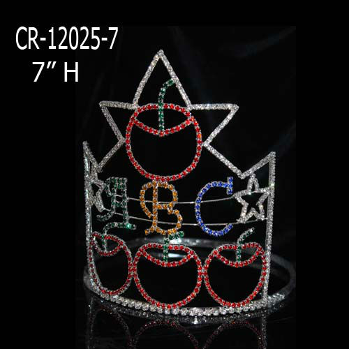 "Custom 7"" Back to school ABC with apple pageant crown"