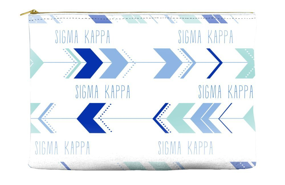 Sigma Kappa Arrow Pattern Blue Cosmetic Accessory Pouch Bag for Makeup Jewelry & other Essentials