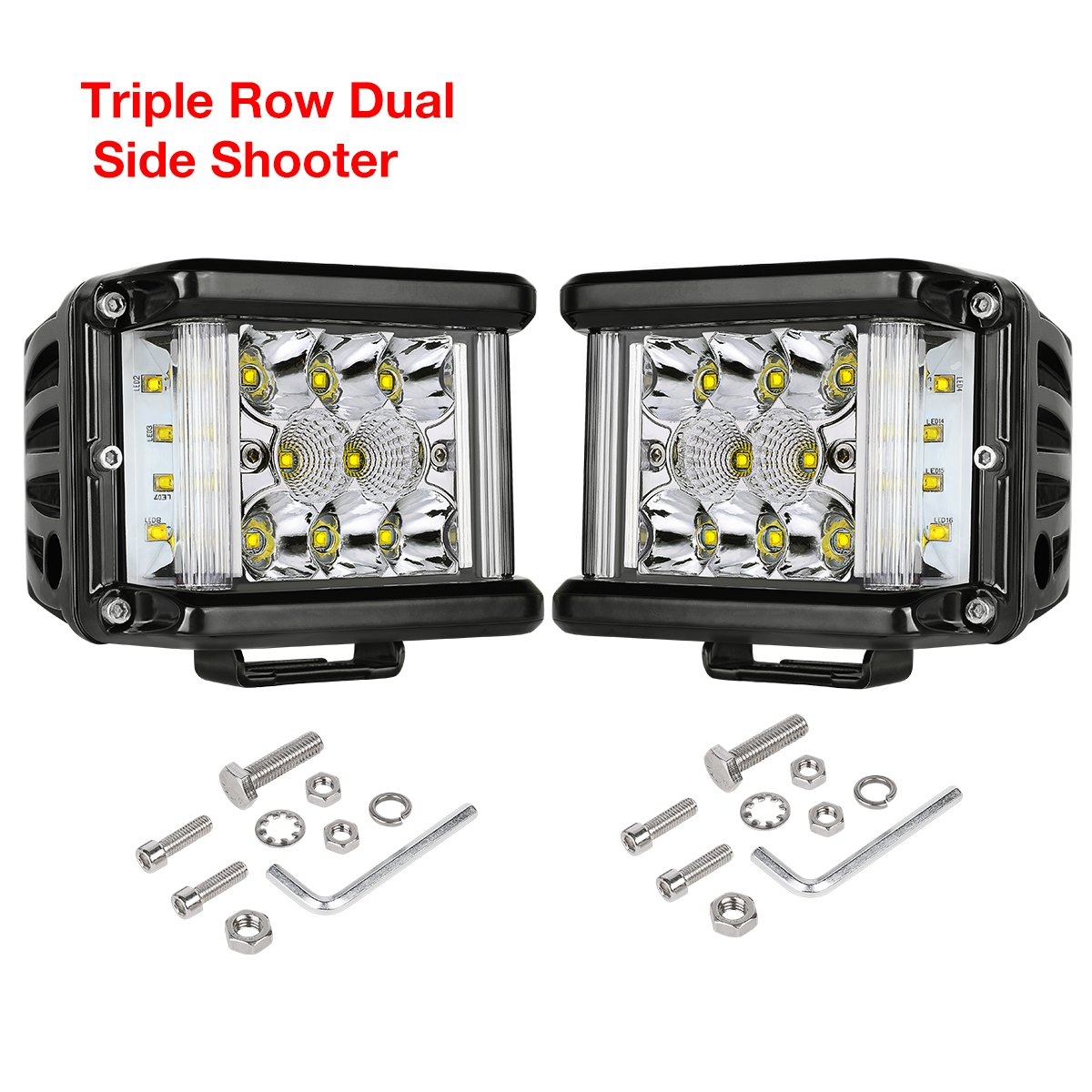 Side Shooter LED Lights, DJI 4X4 2Pcs 4'' 96W Triple Row CREE LED Pods Off Road Spot Flood Combo Beam Dual Side Cubes Work Light Driving Fog Lights for Trucks Jeep ATV SUV Boat, 2 Years Warranty