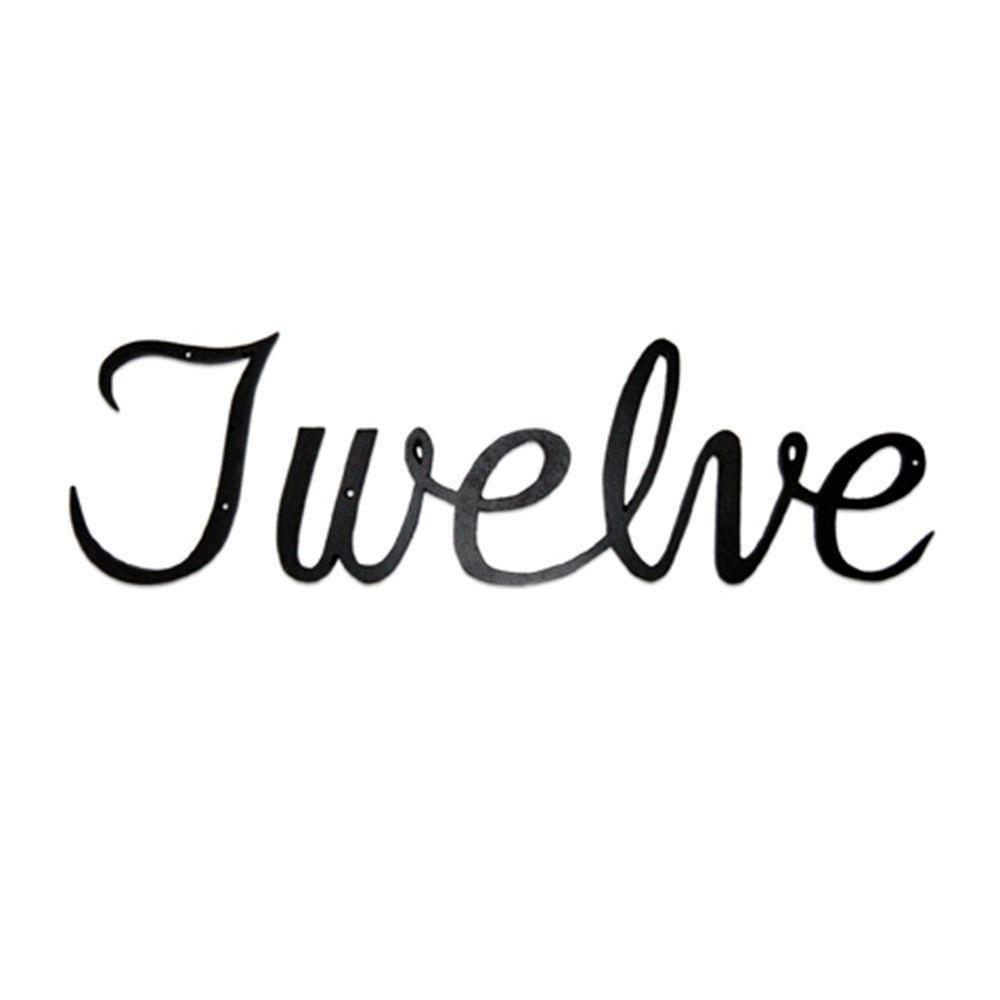 "Script House Number [Set of 3] Number: Twelve, Size: 3.13"" H x 12.5"" W x 7.5"" D"