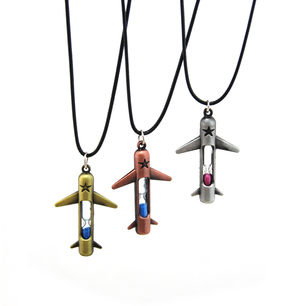 Airplane Pendant Necklace Men Vintage Gold Hourglass Plane Choker Necklace Man Personalized Jewelry Souvenir Gift