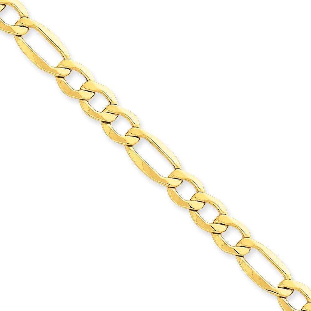 14K Yellow Gold Medical Soft Diamond Shape RedEnamel Semi-Solid Figaro Link ID Bracelet