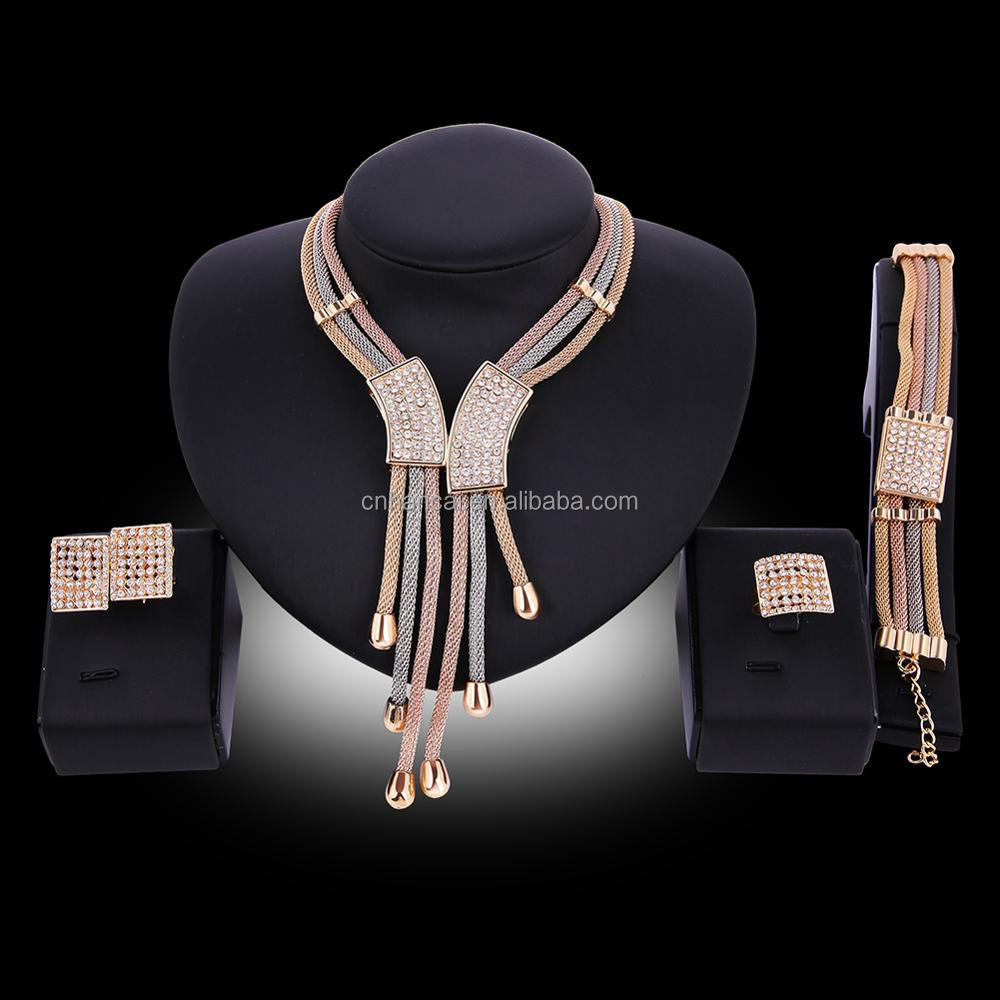 New Ethiopian Ethnic Style Jewelry Women Multilayer Gold Color Net Crystal Necklace/Bangle/Ring/Earrings sets Africa