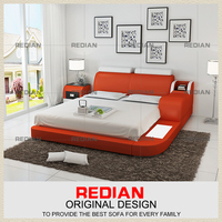 modern furniture bedroom sets used in leather cover solidwood bed frame soft bed