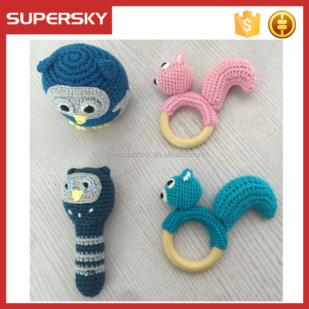 A668 2 Haak Uil Baby Rammelaar Speelgoed Baby Knit Patroon Rammelaar