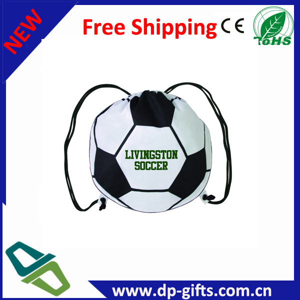 Football shaped polyester custom logo print sports bags for promotion gifts