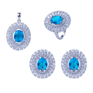 Luxury ocean blue crystal diamond beads 925 silver costume jewelry set