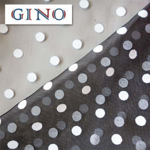 black organza fabric with white dots