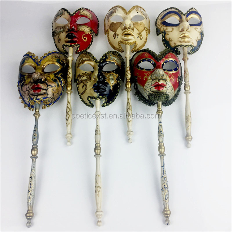 Festive & party supplies 6 colors available Handmade half-face pulp Elegant Venetian carnival mask on a stick