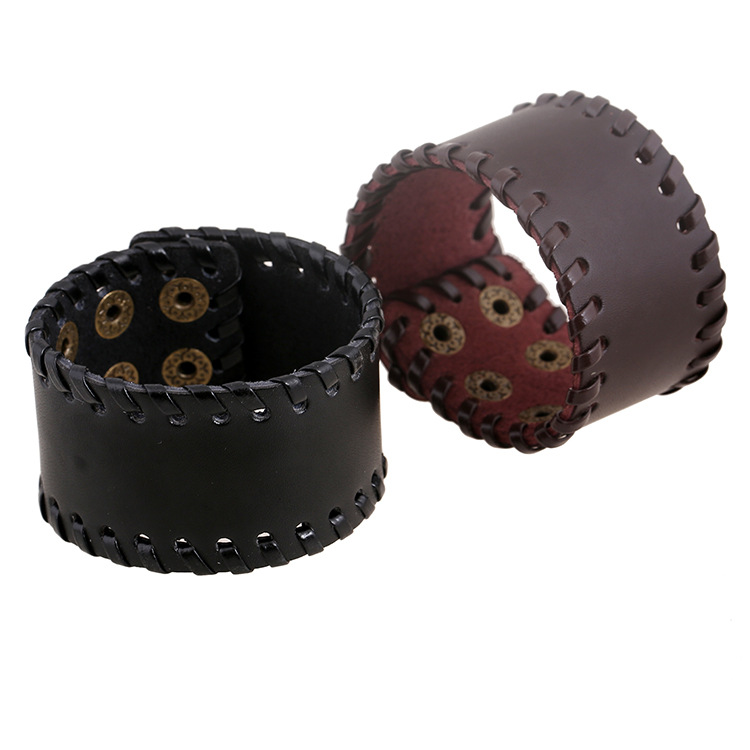 Newest Style Men Women Bangle Cuff Black And Brown Multi Layer Punk Rock Adjustable Genuine Leather