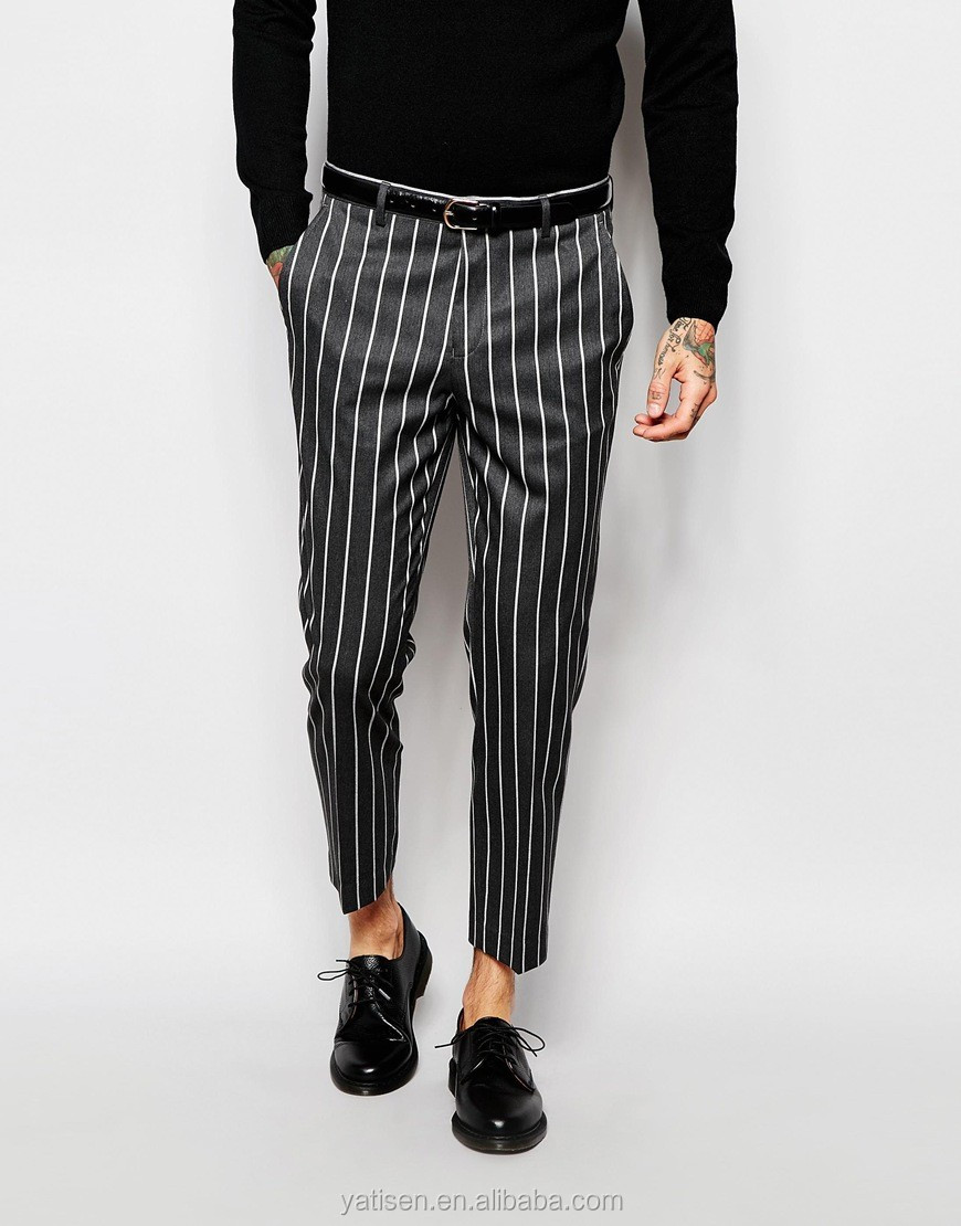 OEM Mens Trousers plaid AND stripe pants slim mens cotton trousers