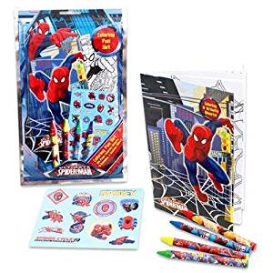 MARVEL SPIDERMAN COLORING FUN SET 24 COLORING SHEETS, 4 CRAYONS, STICKERS, Case of 48