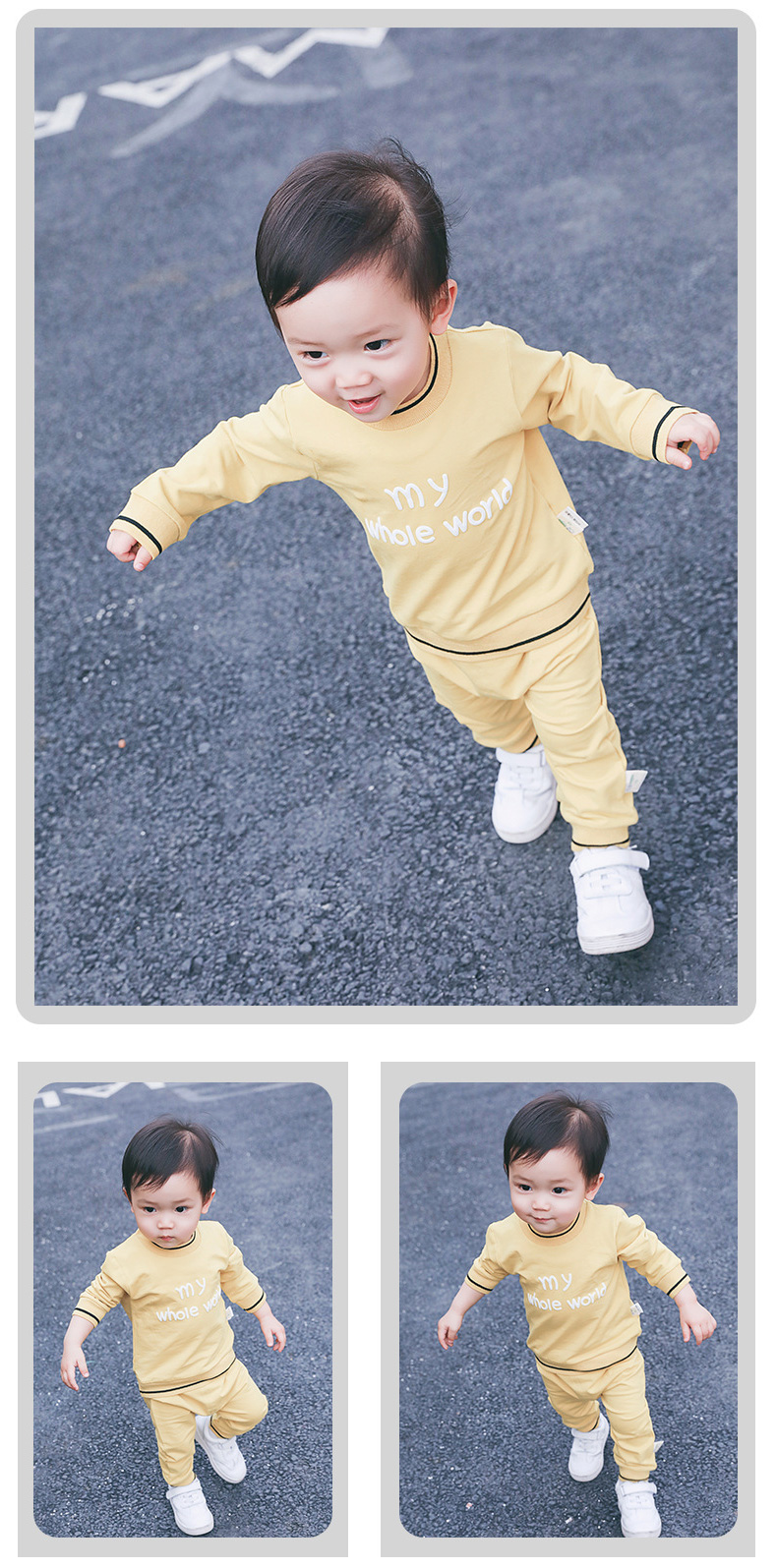2019 New style pink yellow grey toddler sports outfit suit baby clothing set