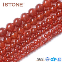 Istone Wholesale 8mm Natural Red Agate Round Beads For Jewelry Making