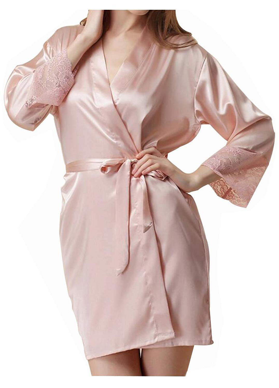 23fe2b9209 Get Quotations · HorBous 1 Piece Plus Size Women Silk Bathrobe Robe Long  Satin Robe Kimono Pajamas Nightgown Robe