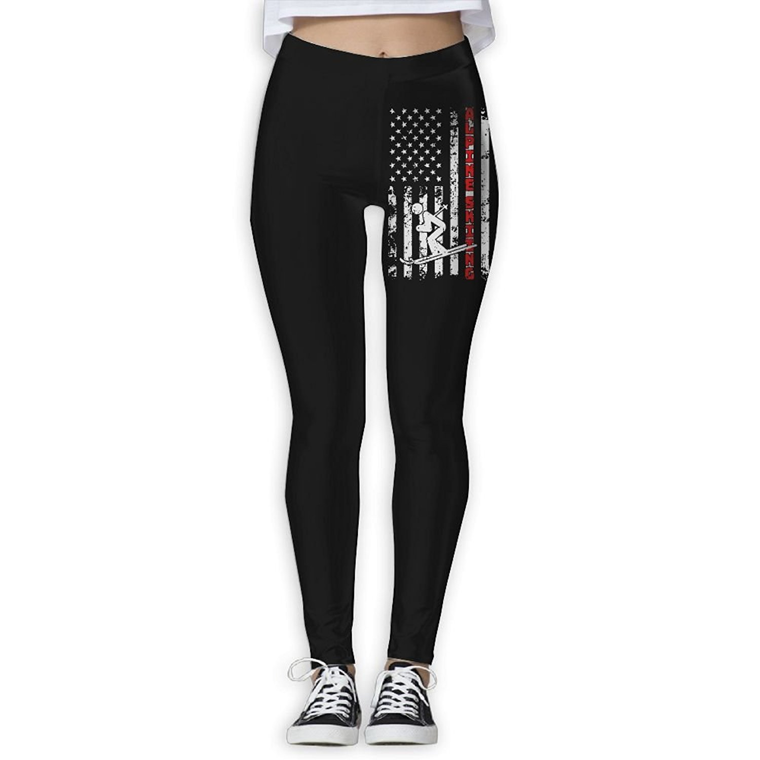 8c75813079 Get Quotations · KLYUJIA Yoga Pants, Women's Power Flex US American Flag  Alpine Skiing Ski Yoga Capris Tummy
