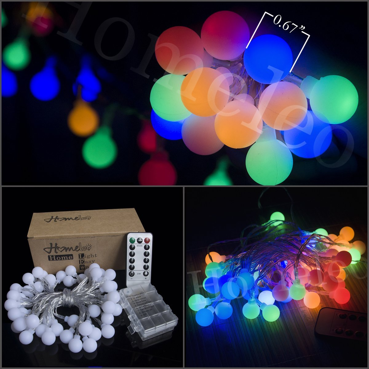 Homeleo 16.4ft 50led Remote Dimmable Globe String Lights, Battery Powered Multi-color Colorful Ball Starry Blinking Twinkle Flashing Fairy Starry Light String