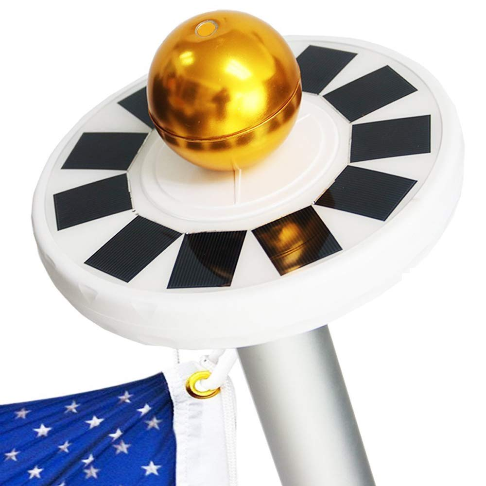 Bestong Solar Power Flag Pole Lights 30 LED Solar Flag Lights, IP65 Weatherproof Flagpole Downlight for Most 15 to 25 Ft Auto On/Off Night Lighting