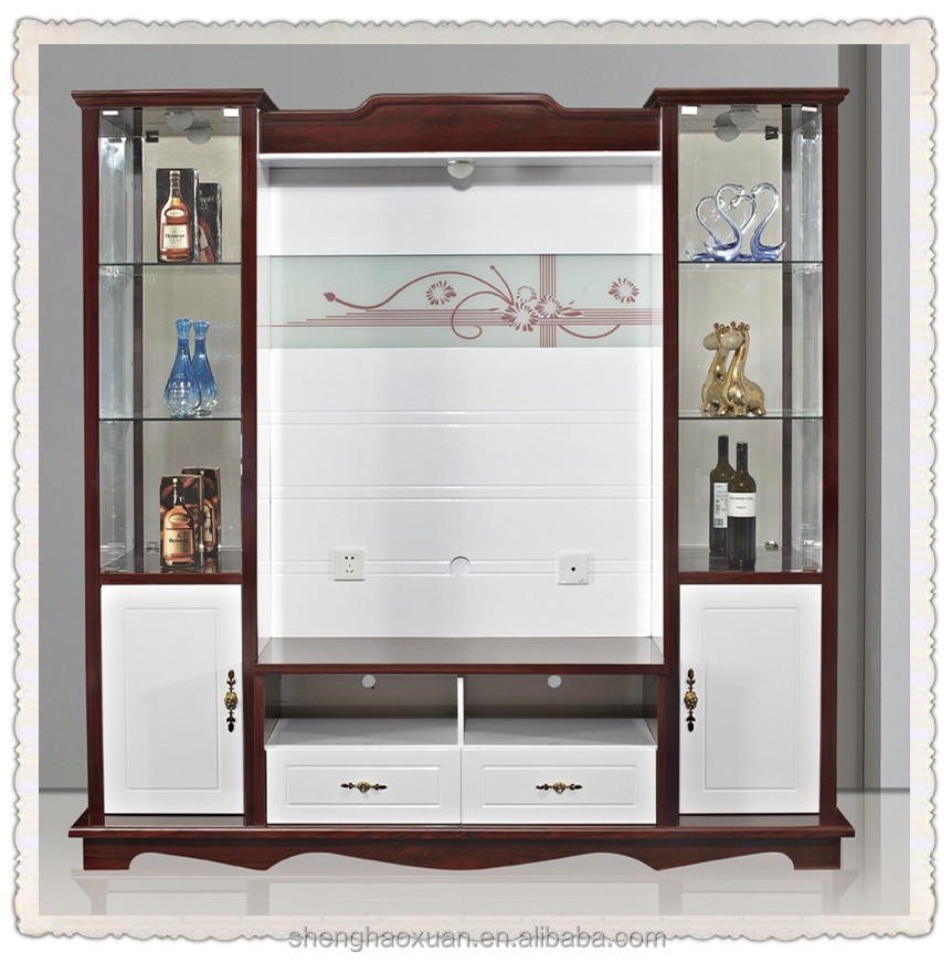 Shx Modern Corner Tv Cabinet With Showcase Lcd Wooden  In Classical Style Mascotto