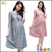 Ecoach Wholesale OEM latest lace dress designs crew neck three quarter sleeve pregnant dress with pleating for office wear 2016