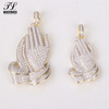 Factory wholesale fashion costume pious praying hands paved diamond pendant jewelry