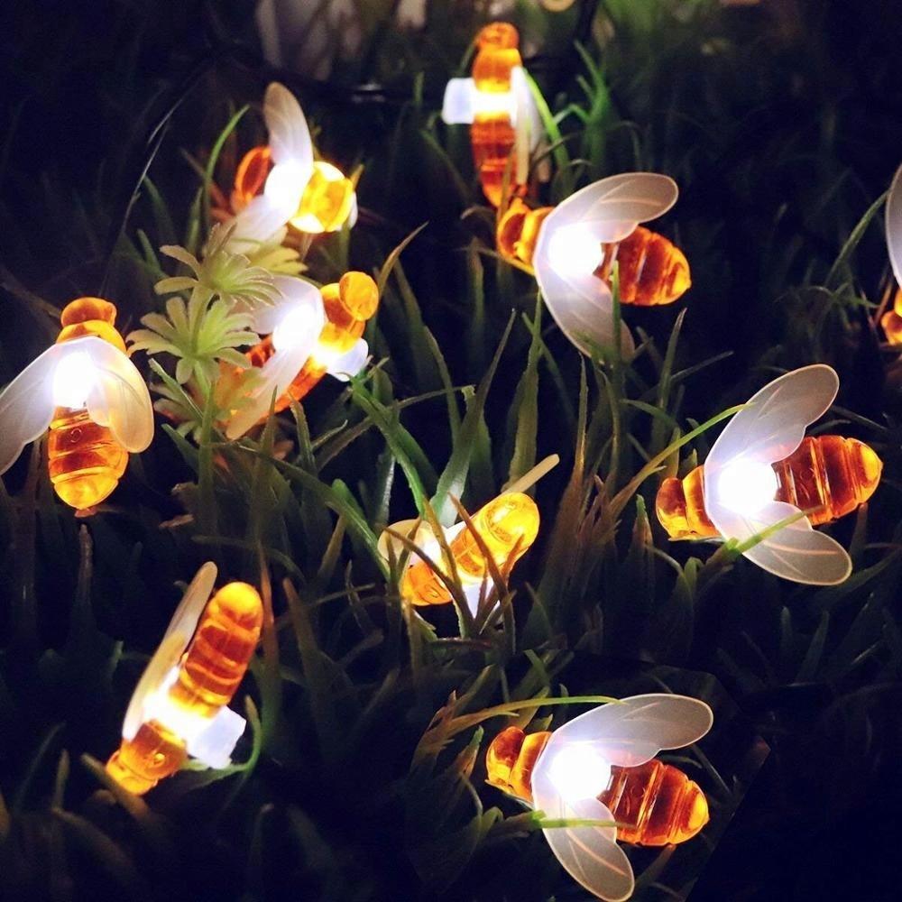 Solar String Lights Garden Summer Decoration 8 Model 30 Led Honey Bee Shape Solar Powered Lights for Home Landscape Holiday