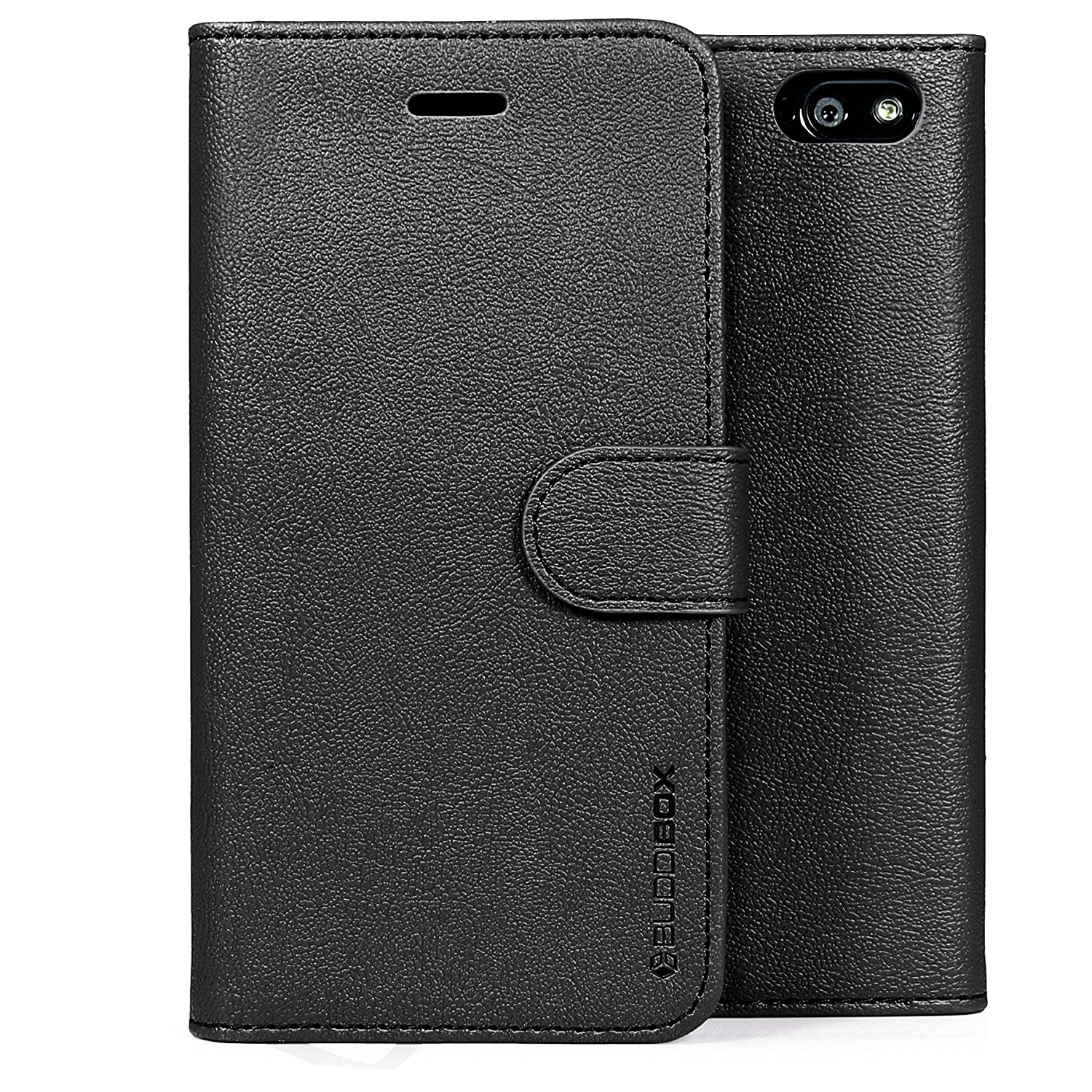 Fire Phone Case, BUDDIBOX [Wallet Case] Premium PU Leather Wallet Case with [Kickstand] Card Holder and ID Slot for Amazon Fire Phone, (Black)