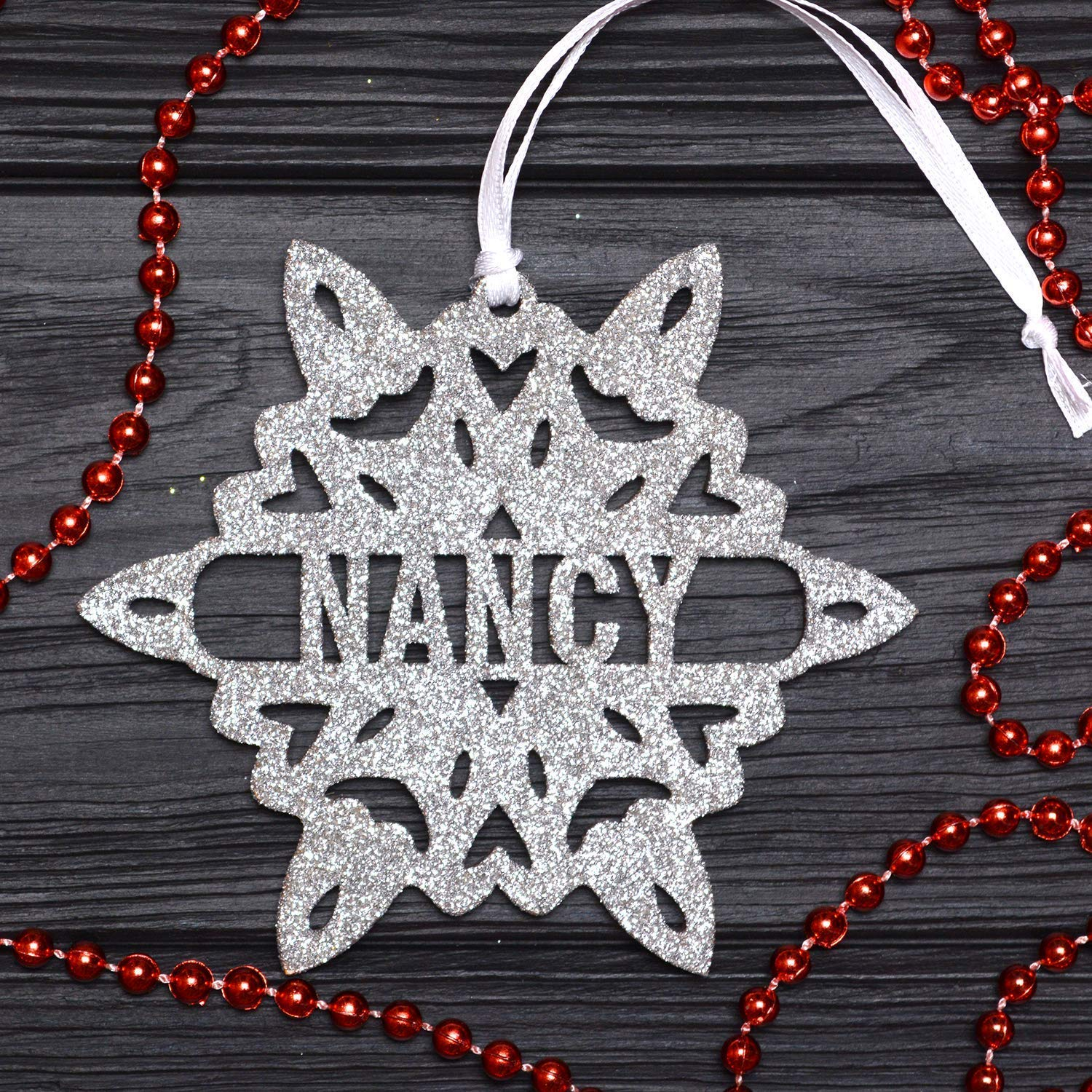 Personalized Christmas Snowflake/Silver Glitter Snowflake, Wooden Snowflake Ornament, Christmas Decorations, Holiday Decor, Xmas Gifts