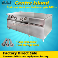 Restaurant stainless steel 1.8m center island with cup dispenser ice cube storage