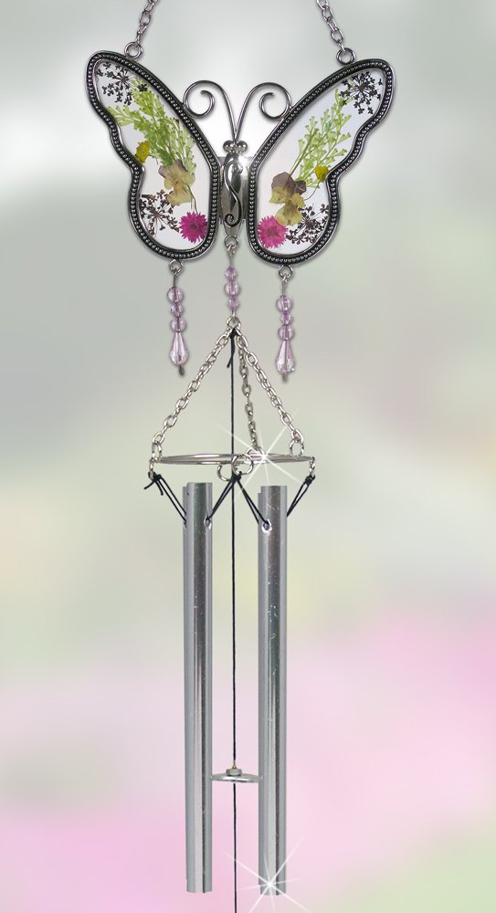 BANBERRY DESIGNS Butterfly Suncatcher Windchime with Real Pressed Flower Wings - Gifts for Mom - Metal & Glass - 20 Inch High