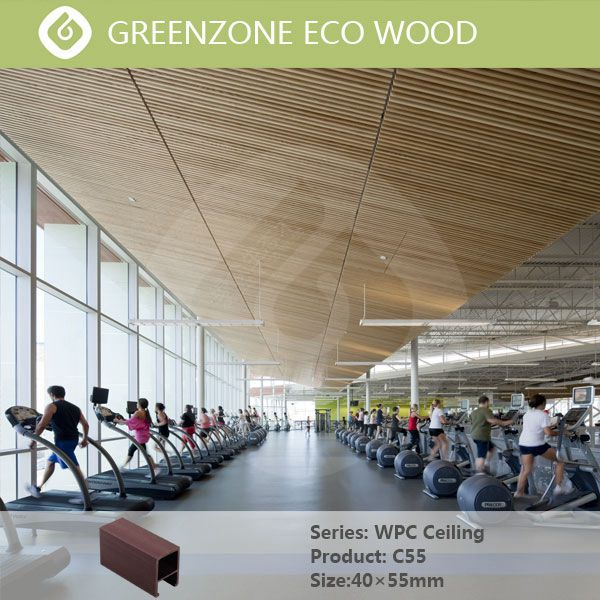 special design Eco wood plastic indoor or outdoor natural color strip pvc ceiling