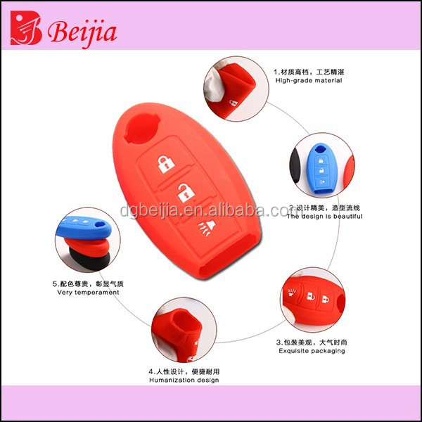 durable & flexible silicone car key case for nissan