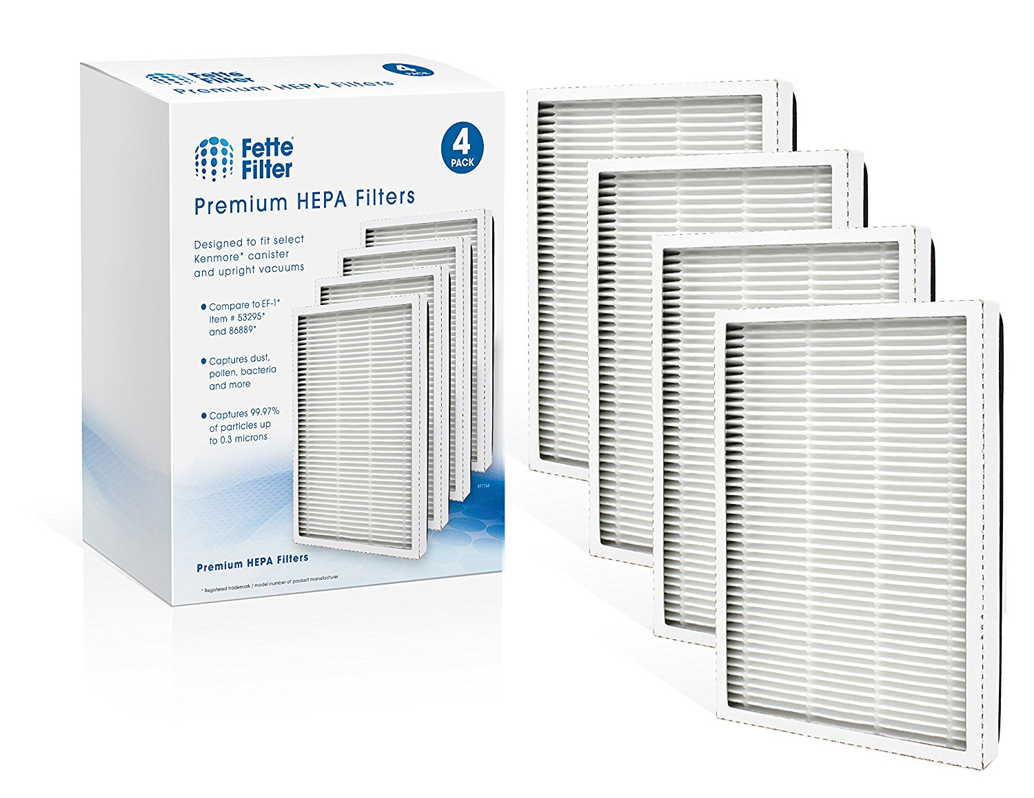 Fette Filter Compatible EF-1 Exhaust HEPA Vacuum Filter, (compares to 86889) and Also Compatible to MC-V199H. (Pack of 4)