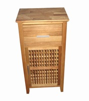 Nordic grid solid oiled wood walnut waterproof under sink bathroom cabinet with drawer and door