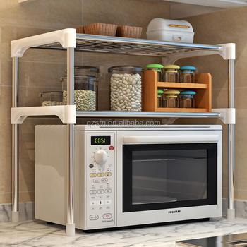 Kawat Logam Keranjang Rak Penyimpanan Peralatan Dapur Microwave Oven Berdiri Sistem Lemari